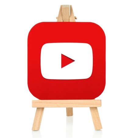 Kiev, Ukraine - August 30, 2016: Youtube icon printed on paper and placed on wooden easel. YouTube is a video-sharing website Editorial