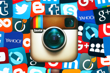 myspace: Kiev, Ukraine - January 11, 2016: Background of famous social media icons with Instagram logo, such as: Facebook, Twitter, Blogger, Linkedin, Tumblr, Myspace and others, printed on paper Editorial