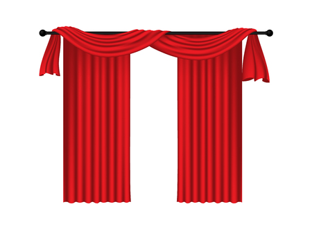 show window: Red luxury curtains and draperies on white background, realistic vector illustration