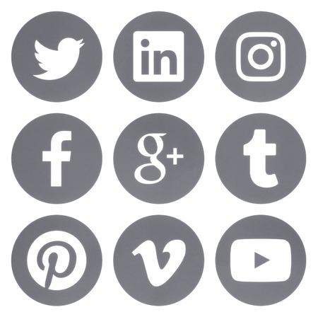 Kiev, Ukraine - Febraury 28, 2017: Collection of round popular social media gray logos printed on paper: Facebook, Twitter, Google Plus, Instagram, Pinterest, LinkedIn, Vimeo, Tumblr and Youtube
