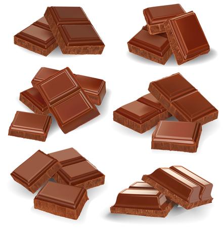 Realistic vector illustration, set of broken chocolate bars on white background Vettoriali