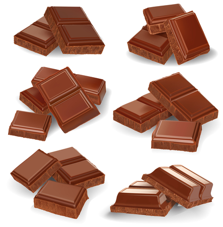 Realistic vector illustration, set of broken chocolate bars on white background Illustration