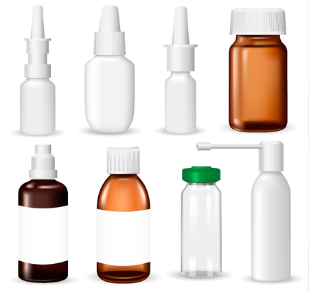 ampoule: Set of medical containers on white background, realistic vector illustration