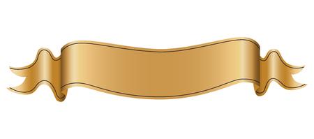 Vintage ribbon label on white background, realistic vector illustration