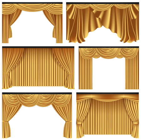 Set of gold luxury curtains and draperies on white background, realistic vector illustration Illustration