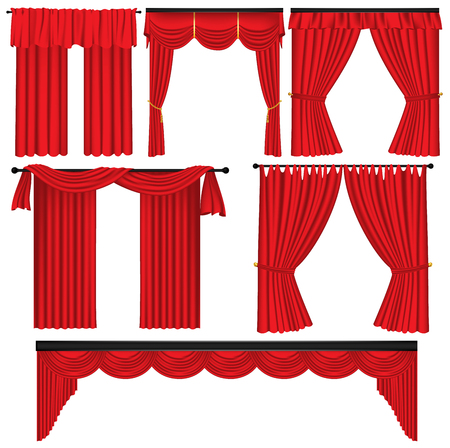 Set of red luxury curtains and draperies on white background, realistic vector illustration Illustration