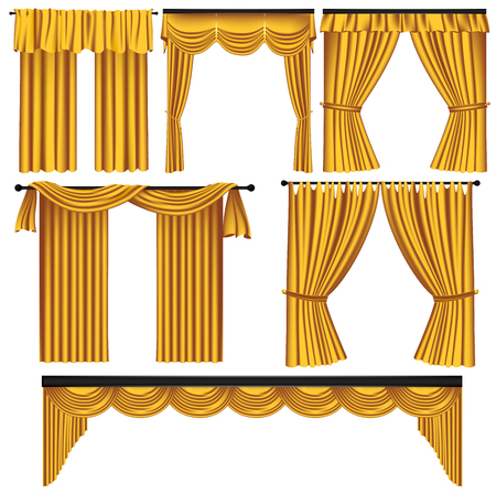 Set of golden luxury curtains and drapes