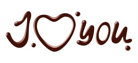 Eu amo você palavra chocolate Ilustração