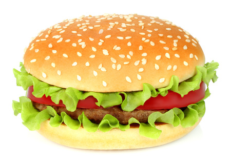 Hamburger grande no fundo branco close-up