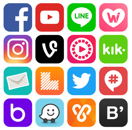Kiev, Ukraine - August 11, 2017: Collection of popular social media logos printed on paper: Facebook, Instagram, Youtube, Vine, Badoo, Kik, Learnist and others
