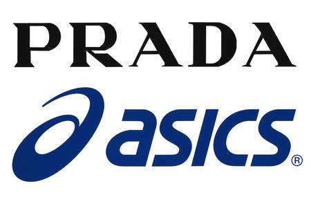 Kiev, Ukraine - September 11, 2017: Collection of popular sportswear manufactures logos printed on paper: Prada and Asics