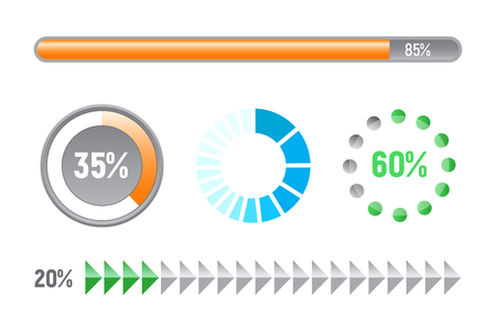 Set of progress bars - template elements, flat design vector illustration