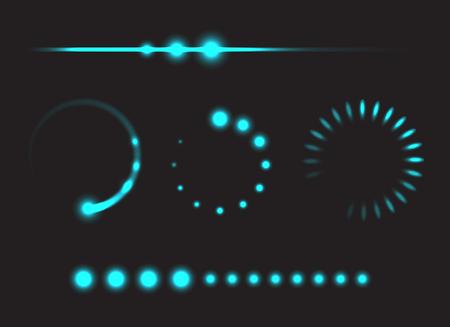 Conjunto de barras de progresso - elementos de modelo, ilustração vetorial de design brilhante Ilustração