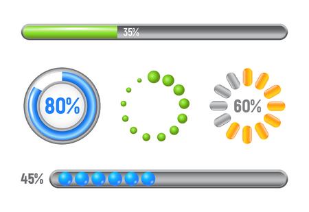 Conjunto de barras de progresso - elementos de modelo, ilustração vetorial de design de volume