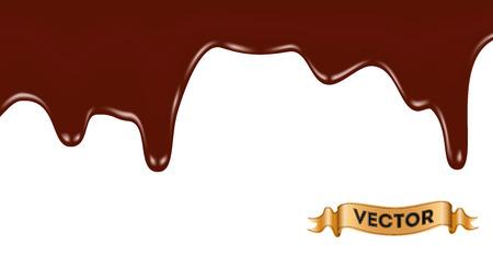 ilustração vetorial realista de gotejamento chocolate derretido sobre fundo branco Ilustração