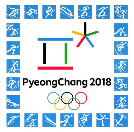 Kiev, Ucrânia - 22 de setembro de 2017: logotipos oficiais dos Jogos Olímpicos de Inverno de 2018 com tipos de esporte em PyeongChang, República da Coréia, de 9 de fevereiro a 25 de fevereiro de 2018, impressos em papel