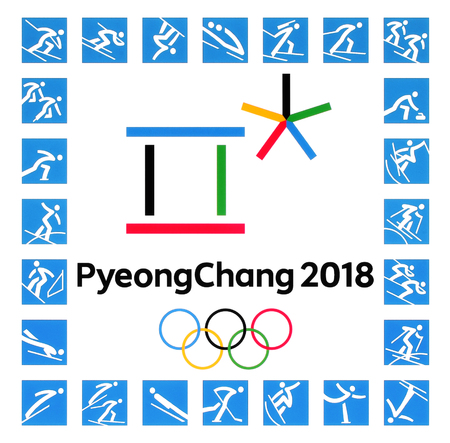 Kiev, Ukraine - September 22, 2017: Official logos of the 2018 Winter Olympic Games with kinds of sport in PyeongChang, Republic of Korea, from February 9 to February 25, 2018, printed on paper Stock fotó - 88517053