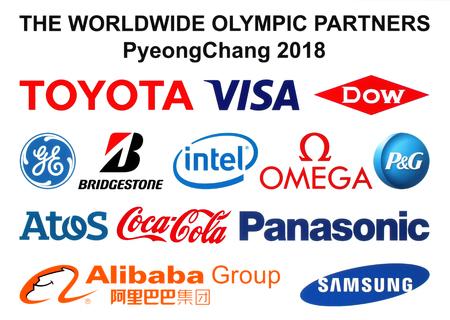 Kiev, Ucrânia - 30 de setembro de 2017: os logotipos mundiais de Olymic Partners dos Jogos Olímpicos de Inverno de 2018 em PyeongChang, República da Coréia, de 9 de fevereiro a 25 de fevereiro de 2018, impressos no white paper