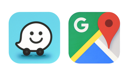 Kiev, Ukraine - October 06, 2017: Collection of popular navigation icons printed on paper: Google Maps and new Waze icon