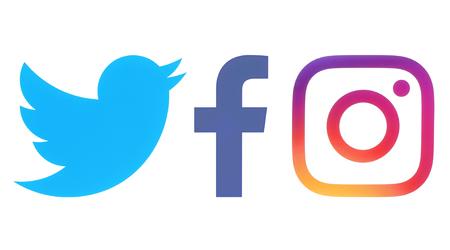 Kiev, Ucrânia - Octobaer 06, 2017: logotipos do Facebook, Twitter e Instagram impressos no papel branco Editorial