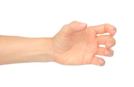 A mão da mulher gosta de segurar garrafa ou outra coisa no fundo branco Imagens