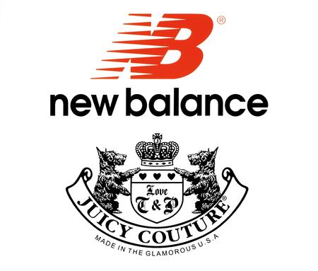 Kiev, Ucrânia - 27 de outubro de 2017: Coleção de logotipos populares de roupas esportivas impressas em papel: New Balance e Juicy Couture