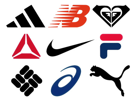 Kiev, Ukraine - October 27, 2017: Set of popular sportswear manufactures logos printed on paper: Adidas, New Balance, Roxy, Reebok, Nike, Fila, Columbia, Asics and Puma