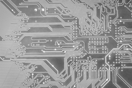 Abstract gray circuit digital background close-up