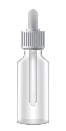 Realistic cosmetic dropper bottle on white background. Ilustração