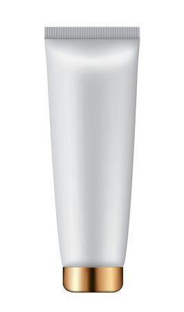 Realistic cosmetic tube bottle on white background. Ilustração