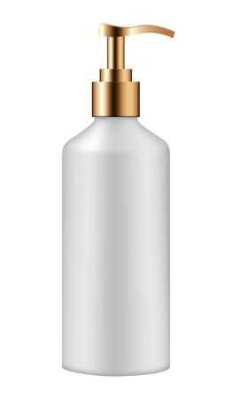 Realistic cosmetic pump bottle on white background.