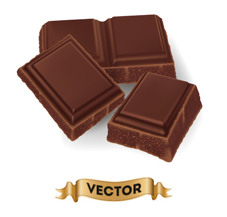 Realistic vector illustration of broken chocolate bar on white background. Ilustração