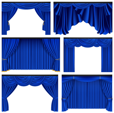 Set of blue luxury curtains and draperies on white background, realistic vector illustration. Ilustração