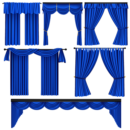 Set of blue luxury curtains and draperies on white background, realistic vector illustration