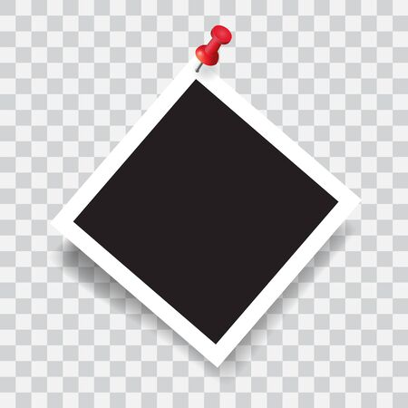 Realistic photo frame with red pin, vector illustration on transparent background