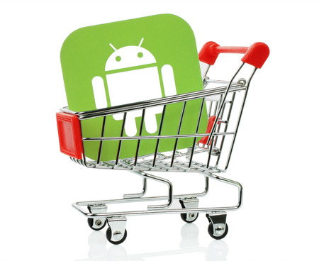 Kiev, Ukraine - November 01, 2017: Android icon printed on paper and placed into shopping cart. Android is a mobile operating system developed by Google