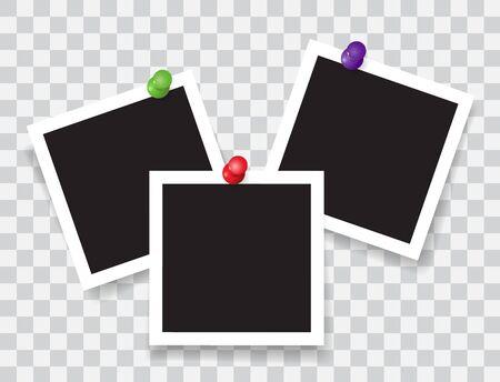 Realistic photo frame with color pins Ilustração