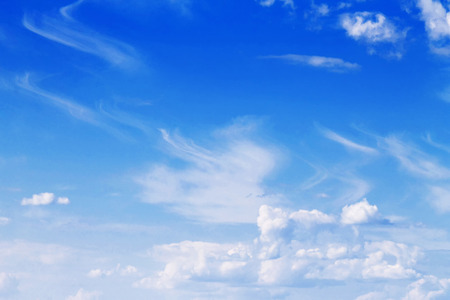 Blue sky with white clouds close-up Imagens