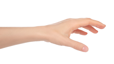 Woman hand on white backround close-up