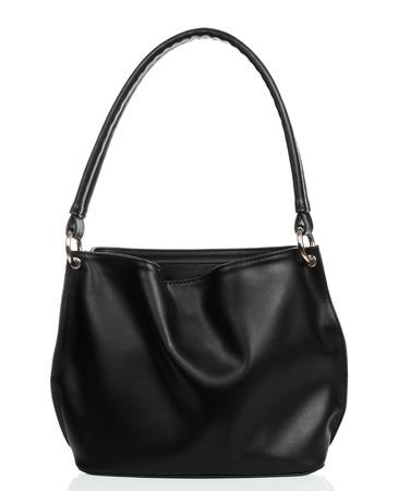 Black women leather bag isolated on white background close-up Imagens