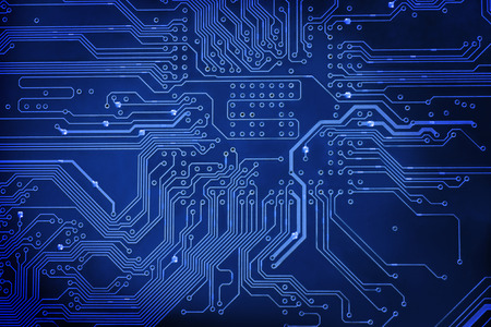 Abstract blue circuit digital background close-up