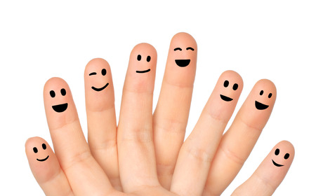 Happy fingers on white background close-up