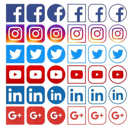 Kiev, Ukraine - April 04, 2018: Collection of different popular social media icons printed on white paper: Facebook, Instagram, Linkedin, Google Plus, Twitter, Youtube 新聞圖片
