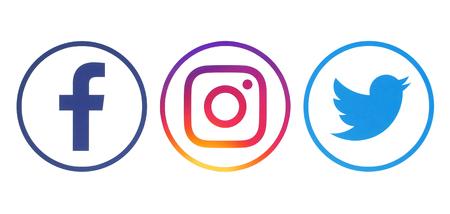 Kiev, Ukraine - April 23, 2018: Facebook, Twitter and Instagram logos printed on white paper
