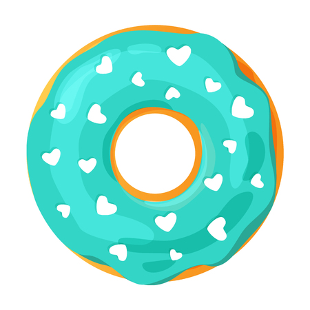Colorful donut on white background, flat vector illustration