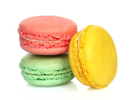 French macaroons on white background close-up Imagens