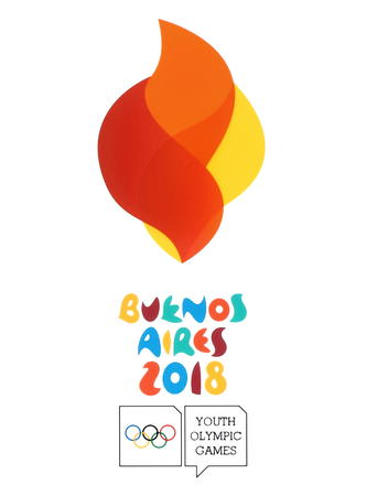 Kiev, Ukraine - August 16, 2018: Logo of Buenos Aires 2018 printed on paper, Summer Youth Olympic Games. It is a sport festival for teenagers in Buenos Aires, Argentina 6-18 October 2018
