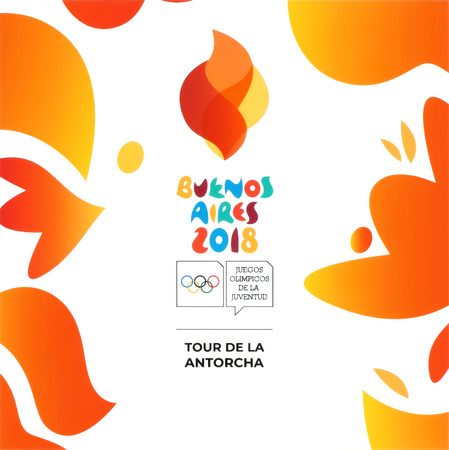 Kiev, Ukraine - August 16, 2018: Buenos Aires 2018 printed on white paper, Summer Youth Olympic Games. It is a sport festival for teenagers in Buenos Aires, Argentina 6-18 October 2018 Editorial