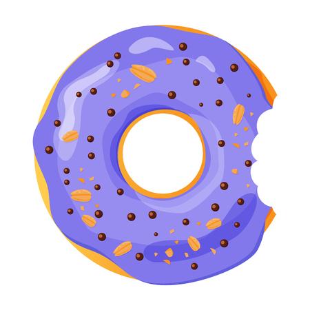 Colorful bitten donut on white background, flat vector illustration Imagens - 113967055