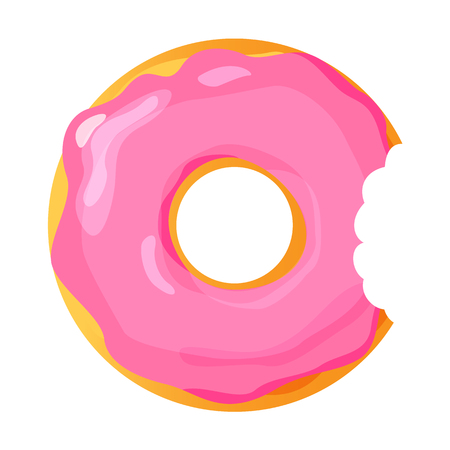 Colorful bitten donut on white background, flat vector illustration